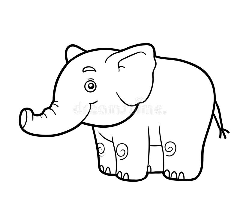 Coloring book, coloring page (elephant). Coloring book for children (elephant royalty free illustration