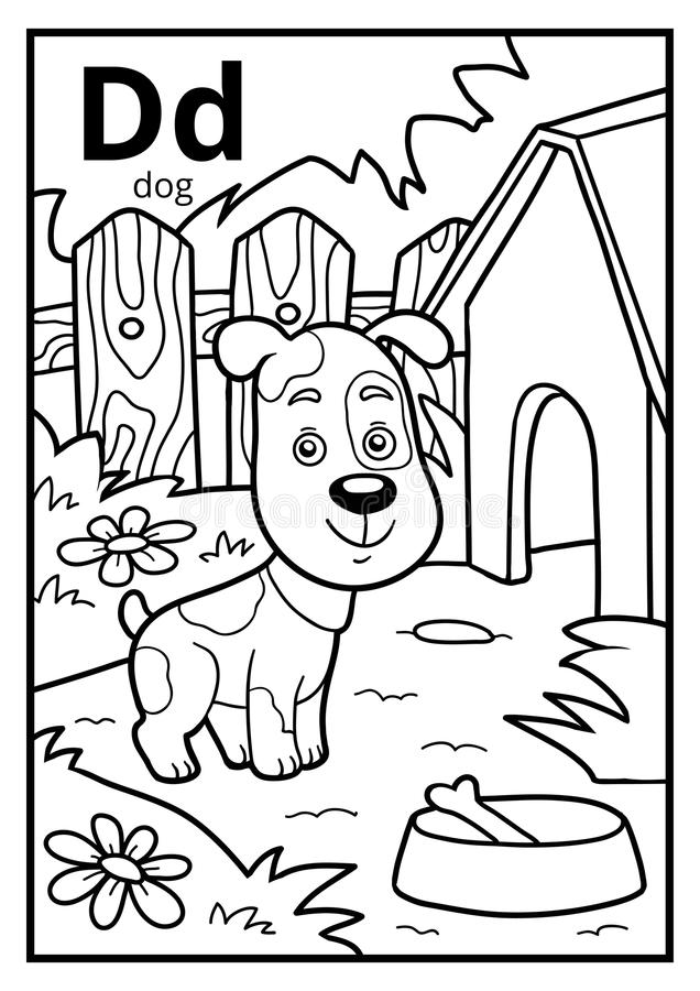 Free Coloring Book, Colorless Alphabet. Letter D, Dog Royalty Free Stock Images - 95491379