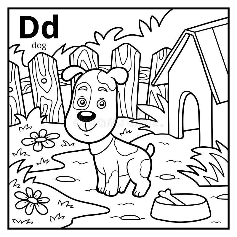 Coloring book, colorless alphabet. Letter D, dog. Coloring book for children, colorless alphabet. Letter D, dog royalty free illustration
