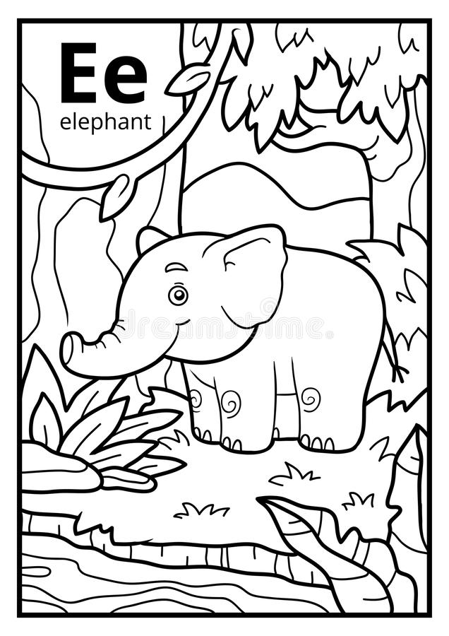 Free Coloring Book, Colorless Alphabet. Letter E, Elephant Royalty Free Stock Photo - 95491305