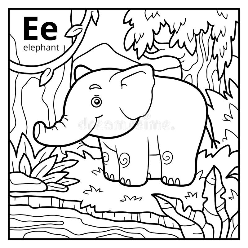 Coloring book, colorless alphabet. Letter E, elephant. Coloring book for children, colorless alphabet. Letter E, elephant vector illustration