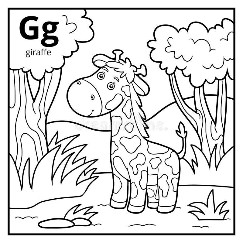 Coloring book, colorless alphabet. Letter G, giraffe. Coloring book for children, colorless alphabet. Letter G, giraffe royalty free illustration