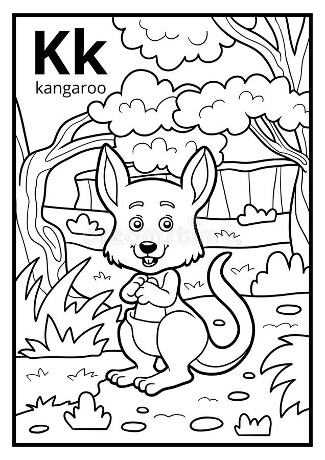 Free Coloring Book, Colorless Alphabet. Letter K, Kangaroo Stock Photography - 95491242