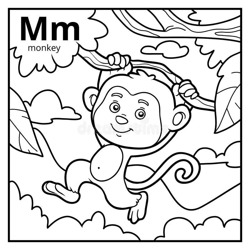 Coloring book, colorless alphabet. Letter M, monkey. Coloring book for children, colorless alphabet. Letter M, monkey vector illustration