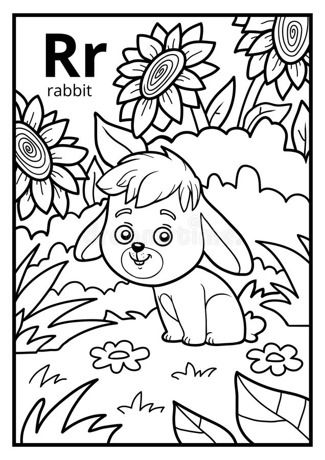 Free Coloring Book, Colorless Alphabet. Letter R, Rabbit Stock Images - 95491304