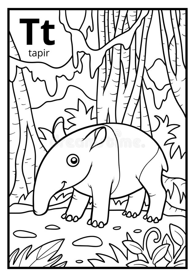 Free Coloring Book, Colorless Alphabet. Letter T, Tapir Royalty Free Stock Photo - 95491345