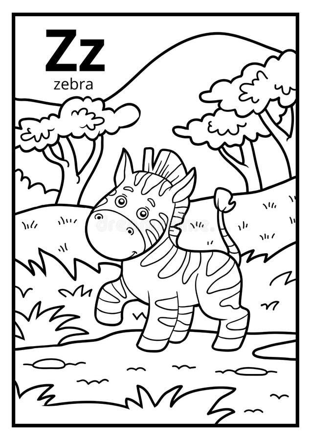 Coloring book, colorless alphabet. Letter Z, zebra royalty free illustration