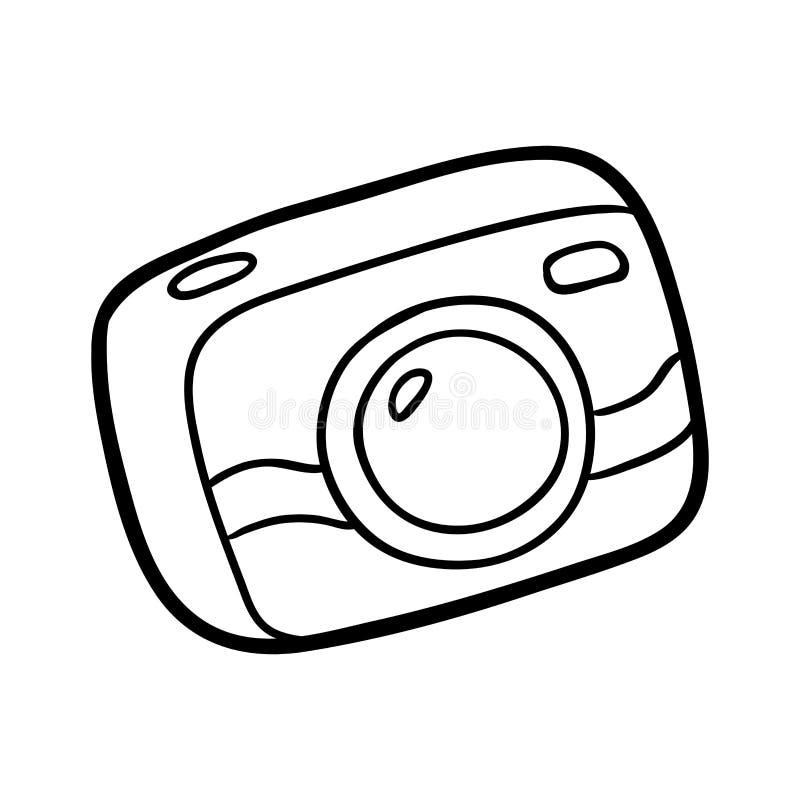 Coloring book, Compact camera vector illustration