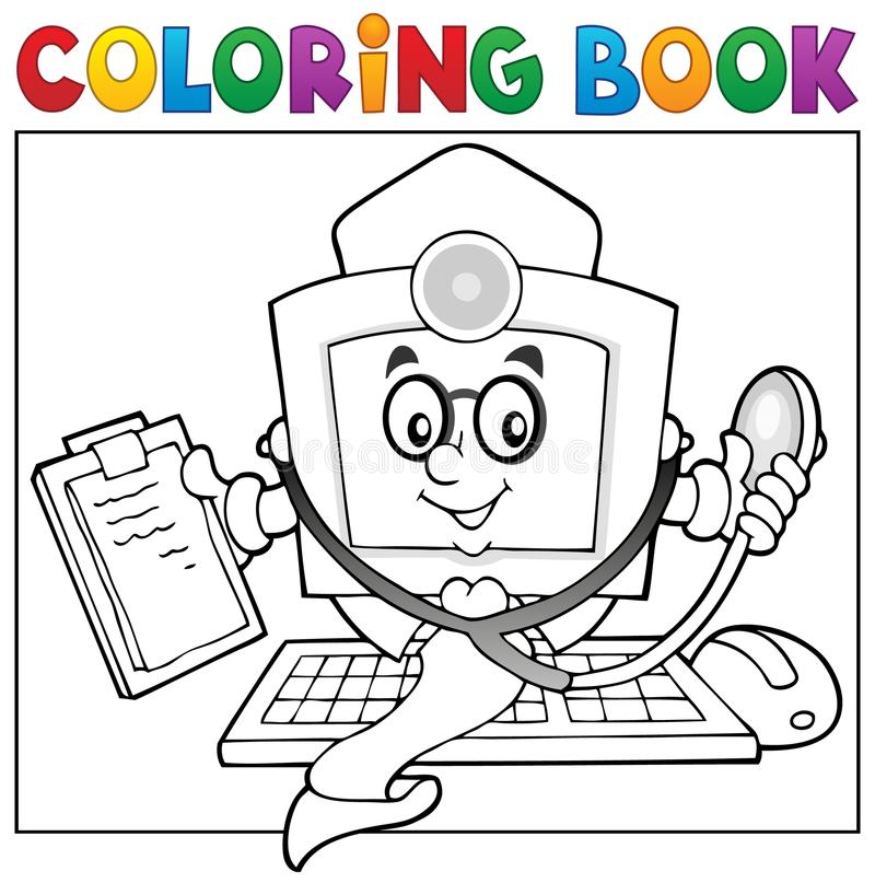 Coloring Book Computer Doctor Theme 1 Stock Vector - Illustration of ...