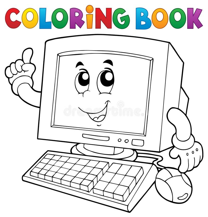 Coloring Book Computer Thematics 1 Stock Vector - Illustration of ...