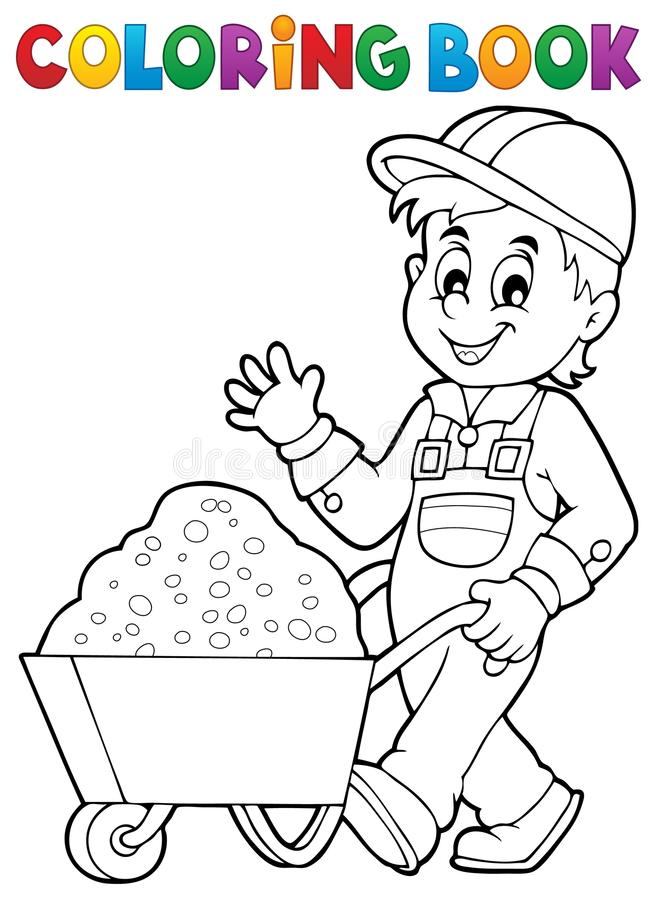 Coloring Book Construction Worker 1 Stock Vector - Illustration of ...