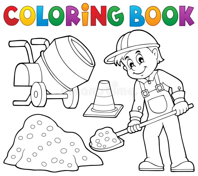 Download coloring book construction worker 2 stock vector illustration of overall glove 60705116