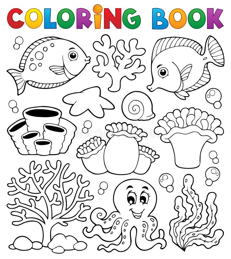 Coloring book coral reef theme 2. Eps10 vector illustration royalty free illustration