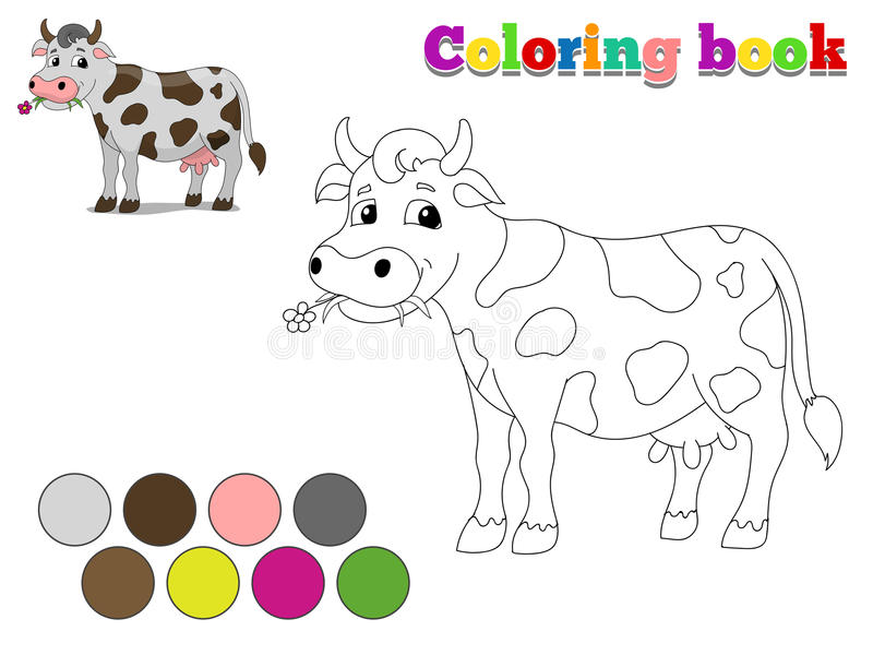 Coloring book cow kids layout for game royalty free illustration