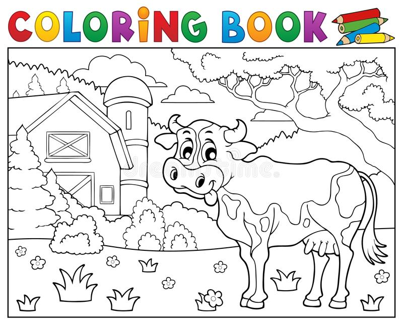 Coloring Book Cow Near Farm Theme 2 Stock Vector - Illustration of ...