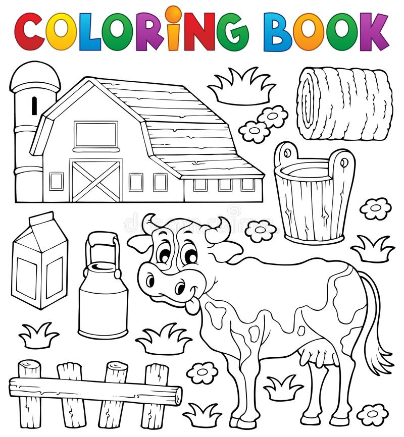 Free Coloring Book Cow Theme 1 Royalty Free Stock Image - 34156816