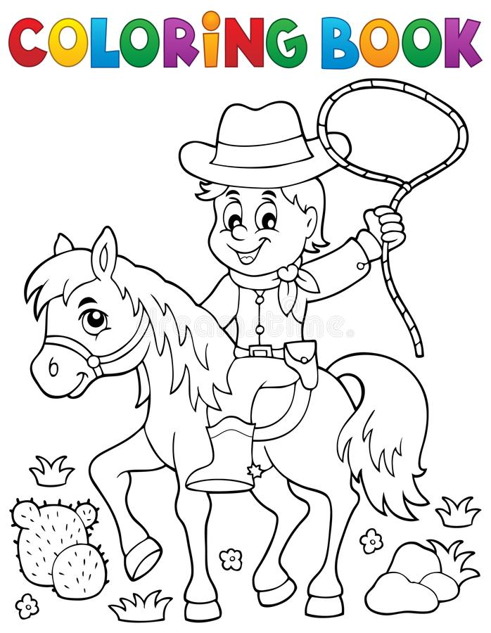 Coloring book cowboy on horse theme 1 vector illustration