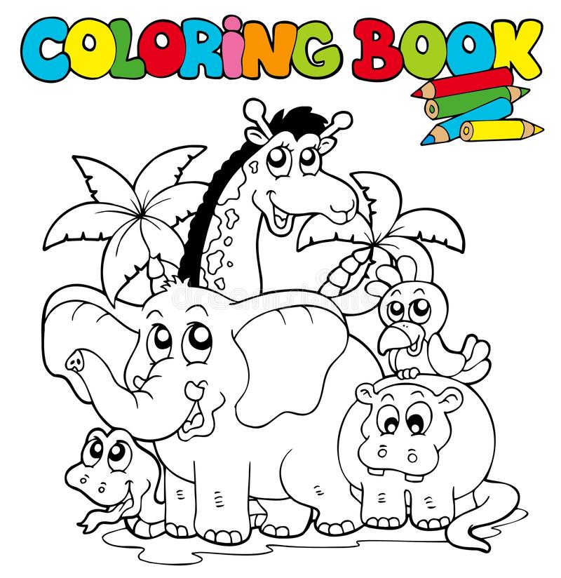Coloring book with cute animals 1 stock illustration