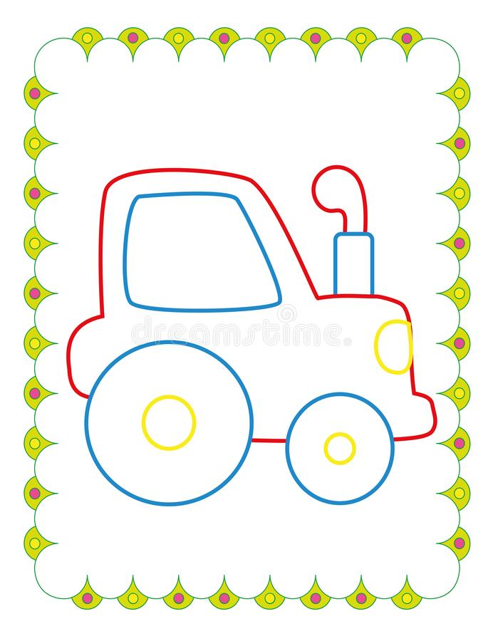 Coloring Book  Of Cute Blue Toy Tractor. Coloring book of cute blue toy tractor on white background vector illustration