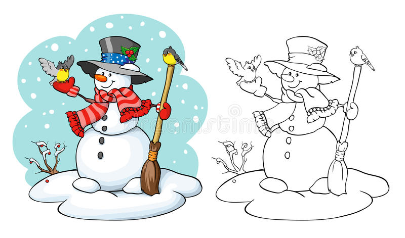 Coloring book. Cute snowman with broom and two birds. royalty free illustration