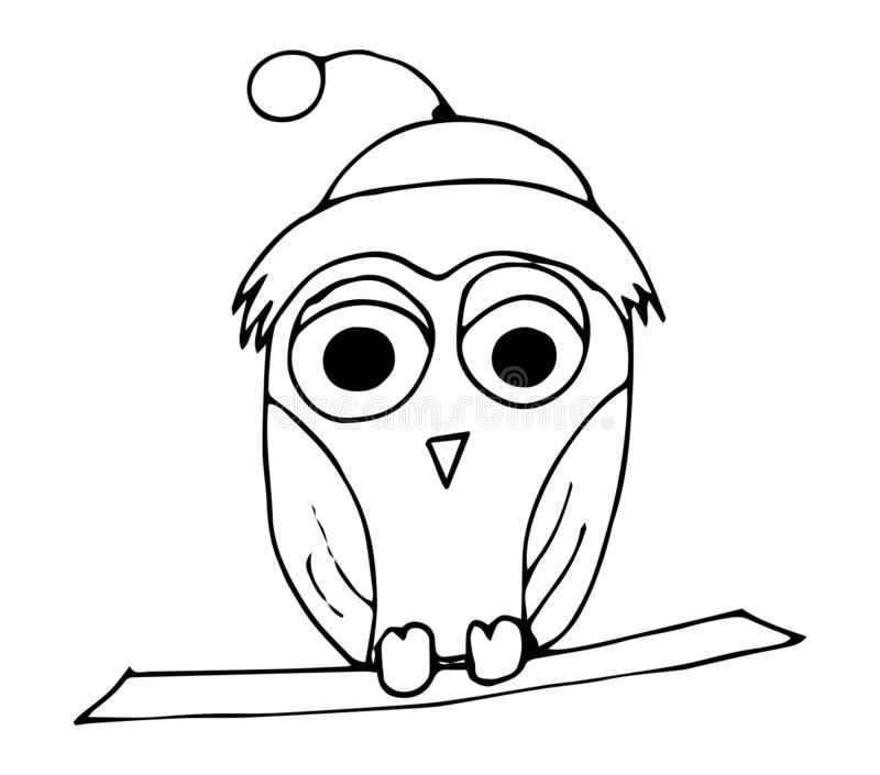 Coloring book. Cute squinting owl. Design for cards, invitations and more vector illustration