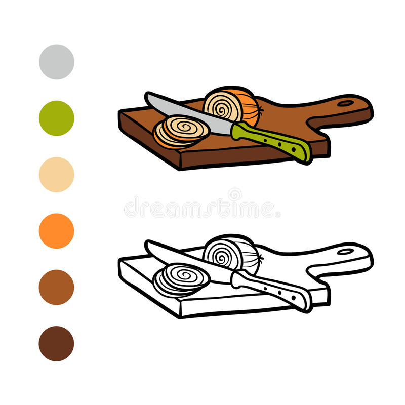 Coloring book, Cutting board and onion royalty free illustration