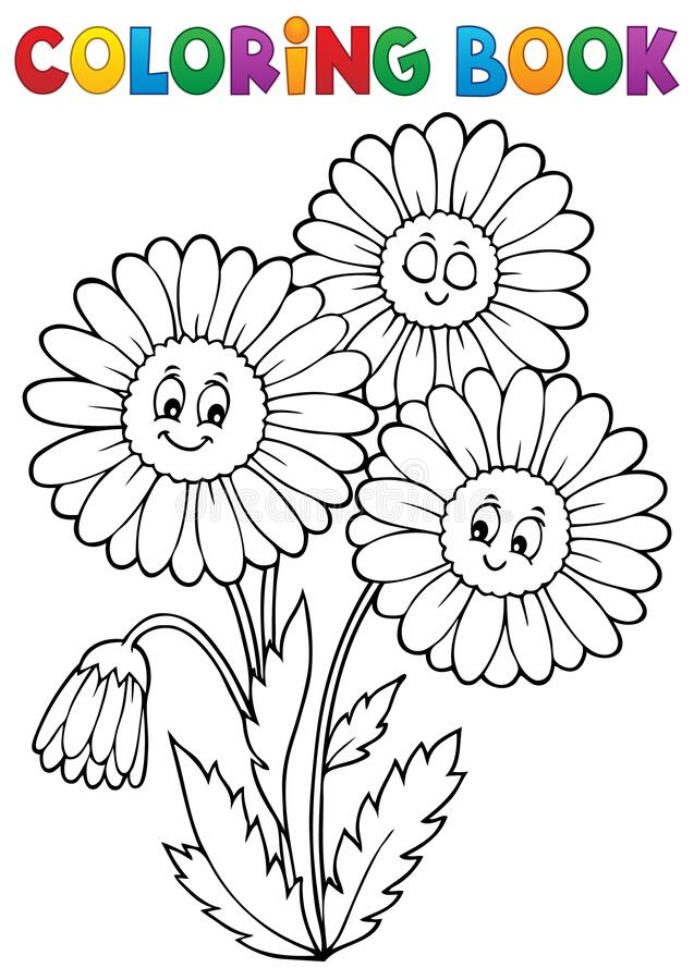 Free Coloring Book Daisy Flower Image 1 Stock Images - 178649164