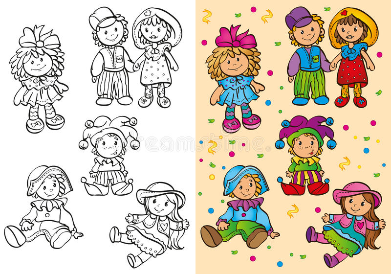 Coloring Book Of Different Cute Dolls royalty free illustration