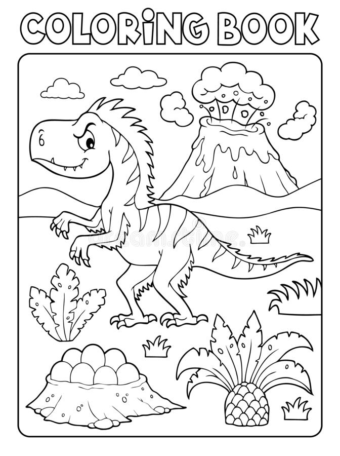 Free Coloring Book Dinosaur Composition Image 4 Stock Photos - 184995633