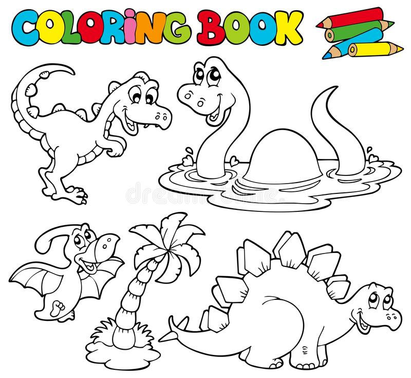 Download Coloring Book With Dinosaurs 1 Stock Vector