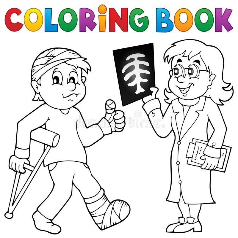 Coloring book doctor attending patient. Eps10 vector illustration vector illustration