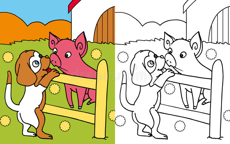 Coloring book dog and pig stock illustration