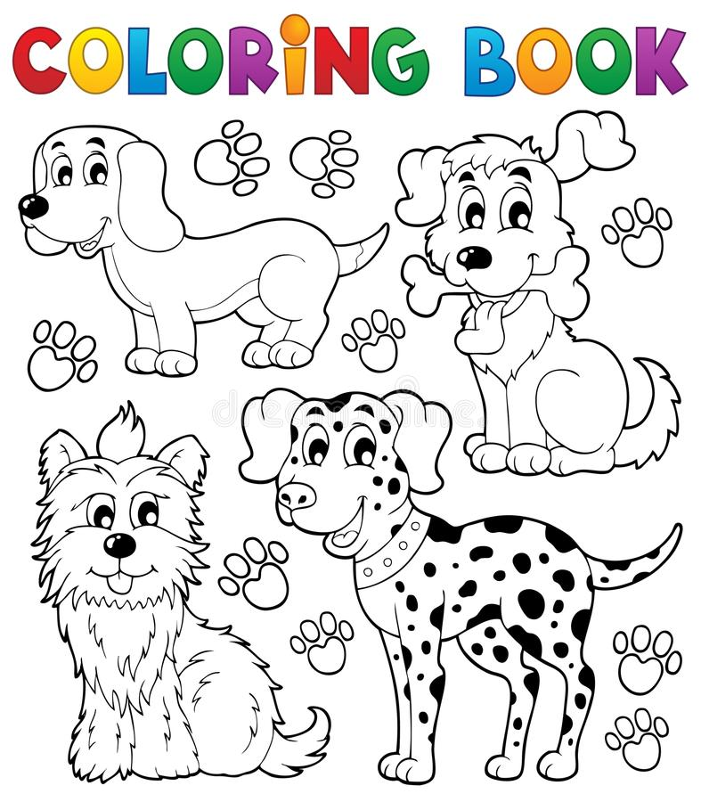 Coloring book dog theme 5 stock vector. Illustration of looking ...