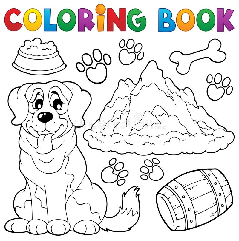 Coloring book dog theme 7 stock vector. Illustration of domesticated ...
