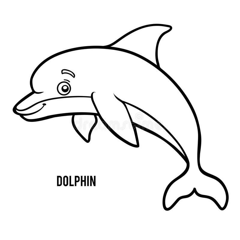 Coloring book, Dolphin vector illustration