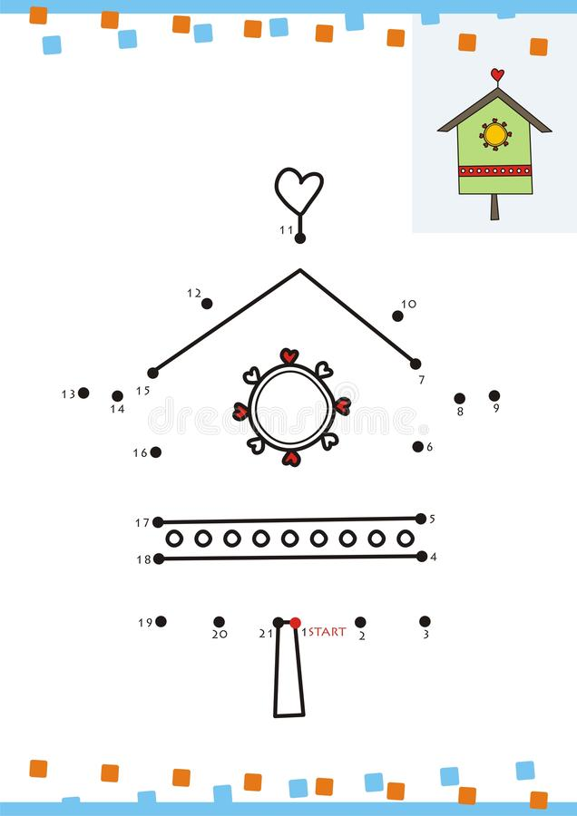 Download Coloring Book Dot To The Bird House Stock Vector