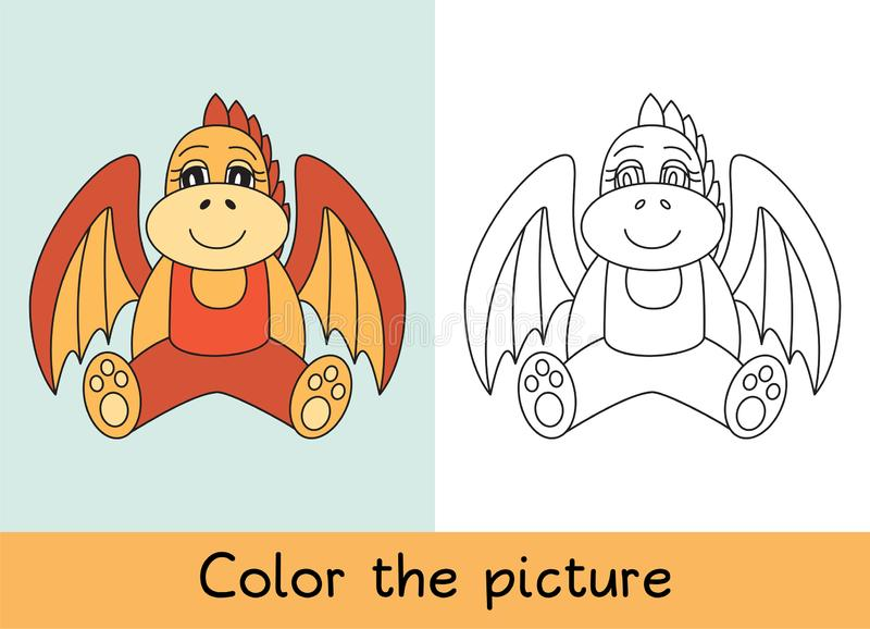 Coloring book. Dragon. Cartoon animall. Kids game. Color picture. Learning by playing. Task for children.  stock illustration