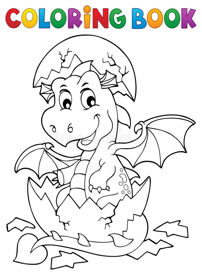 Coloring book dragon hatching from egg 1. Eps10 vector illustration royalty free illustration