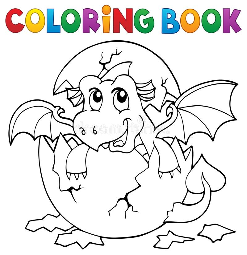 Coloring book dragon hatching from egg 3. Eps10 vector illustration stock illustration