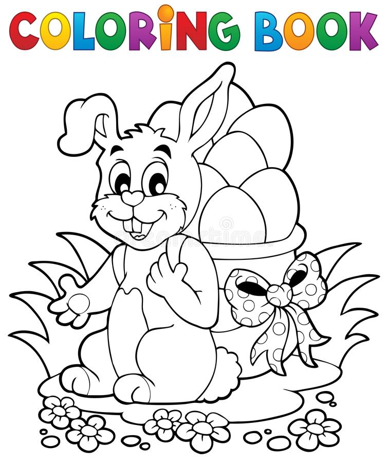 Free Coloring Book Easter Bunny 1 Stock Image - 37733091