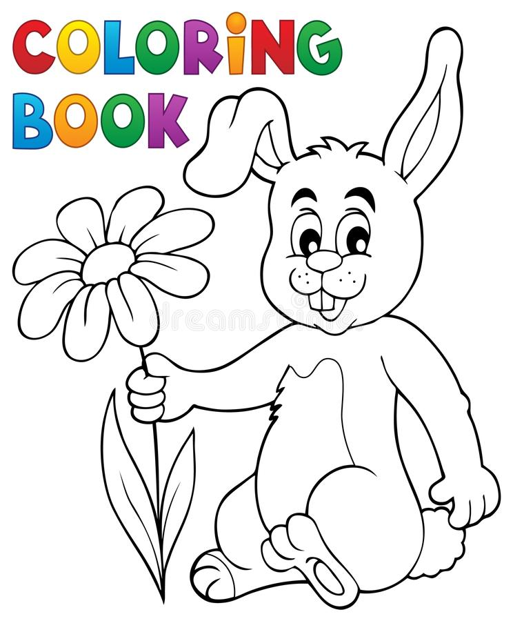 Download Coloring Book Easter Bunny With Flower Stock Vector