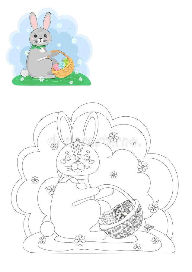 Coloring book. Easter bunny. vector illustration