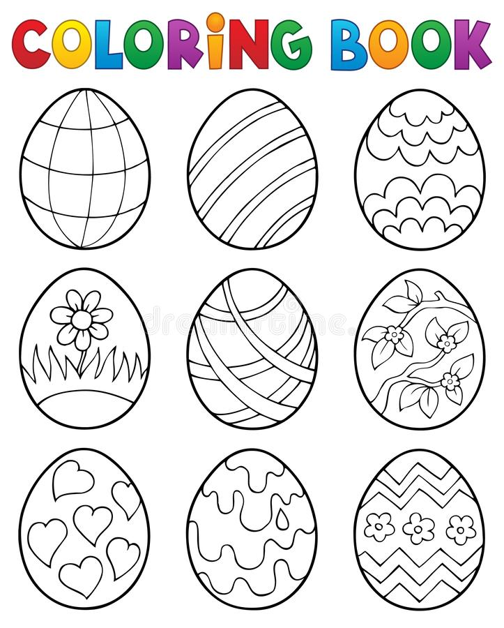 Free Coloring Book Easter Eggs Theme 4 Stock Images - 138737054