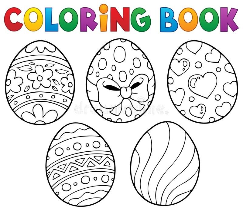 Coloring Book Easter Eggs Theme 1 Stock Vector - Illustration of ...