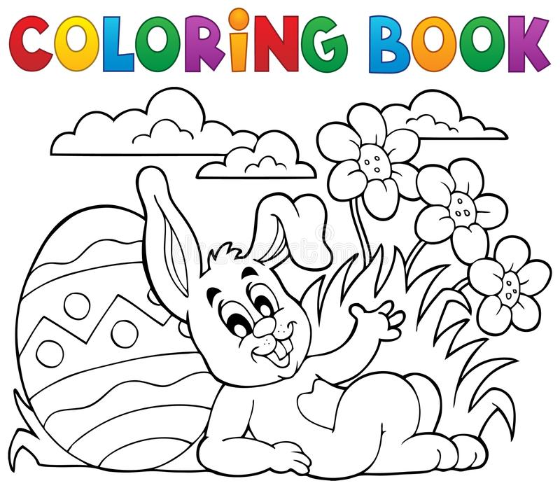 Coloring book Easter rabbit theme 2. Eps10 vector illustration