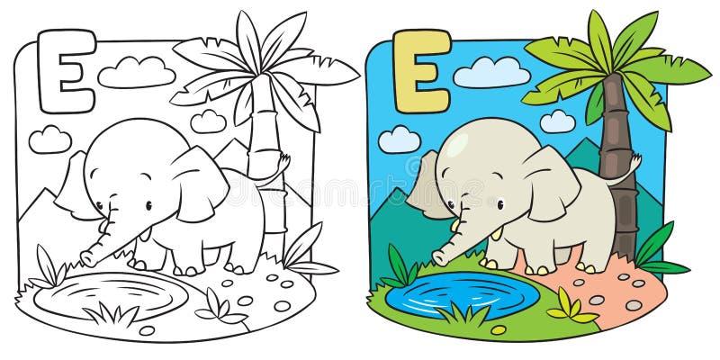 Coloring book of elephant. Alphabet D. Coloring picture or Coloring book of elephant on a green lawn. Alphabet D vector illustration