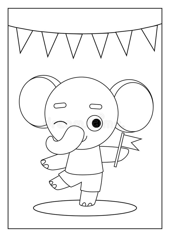 Coloring book, Elephant. Coloring book for children, Elephant and a flag royalty free illustration