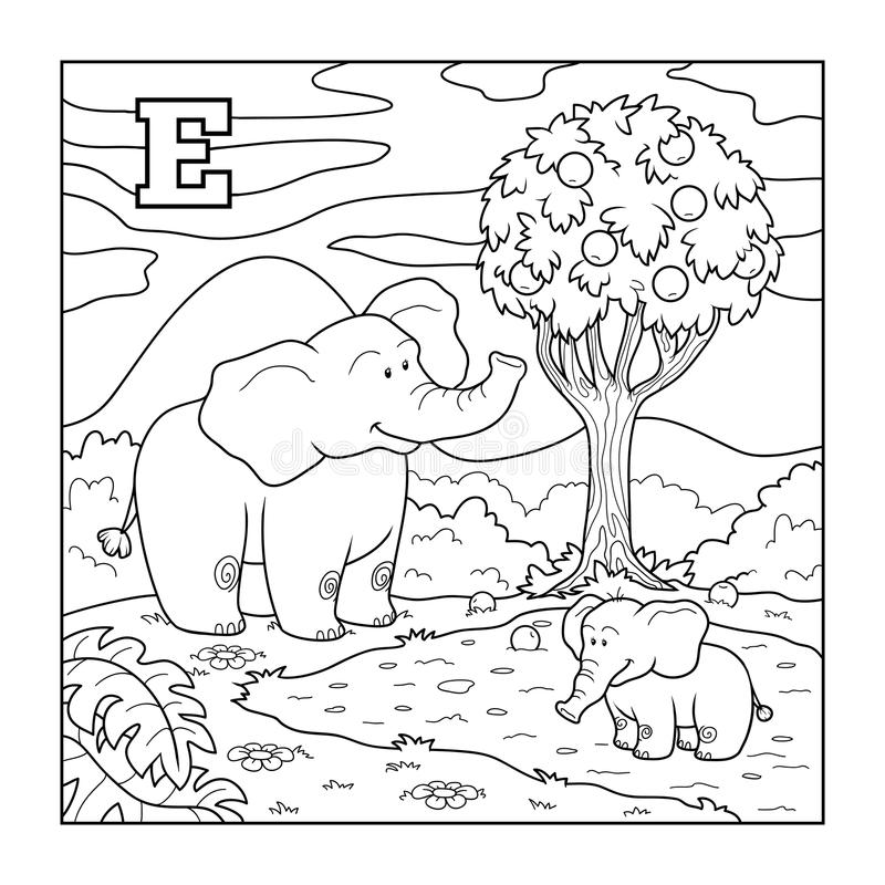 Coloring book (elephant), colorless alphabet for children: letter E. Coloring book for children (elephant), colorless alphabet for children: letter E stock illustration