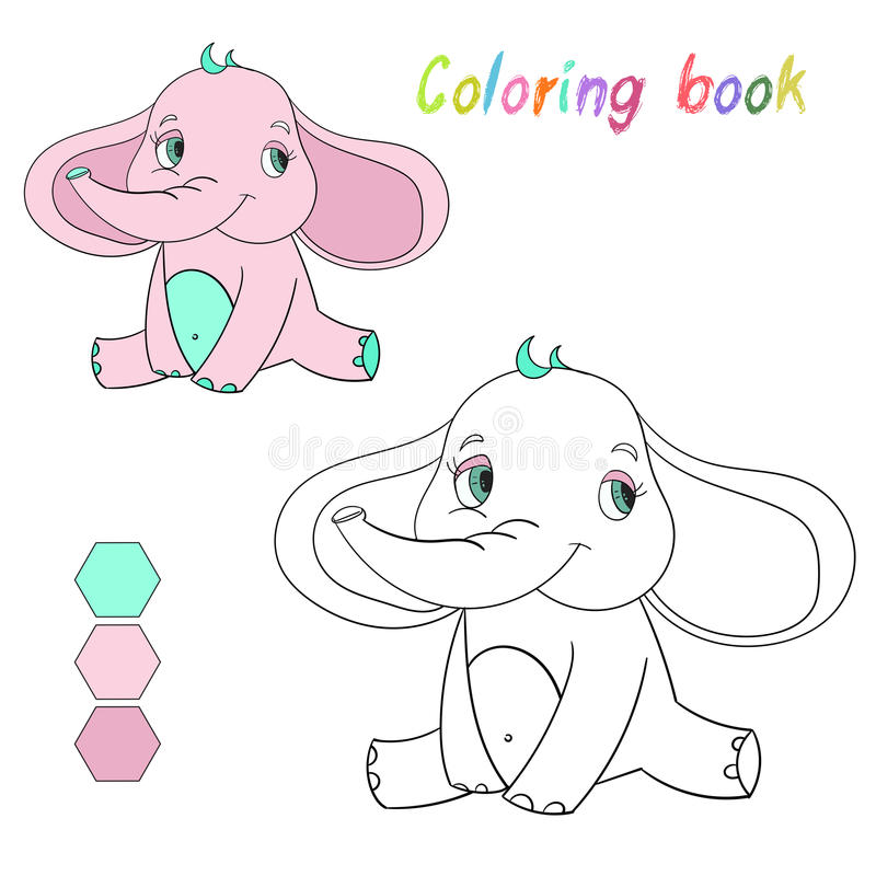 Coloring Book Elephant Kids Layout For Game Stock Vector ...