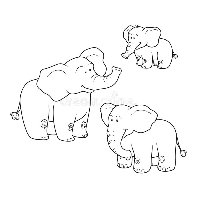 Coloring book (elephants). Colorless set vector illustration